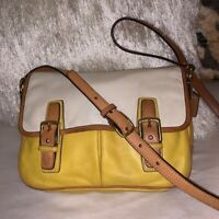 Coach F23383 yellow white and beiges leather crossbody bag