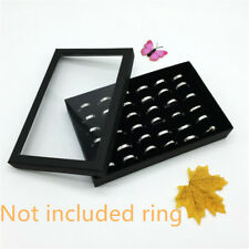 Jewelry Ring Display Organizer Case Tray Ring Ear Studs Holder Storage Box Black