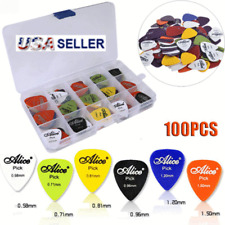 Guitar Picks 100Pc Acoustic Electric Plectrum Mixed Assorted Colors W Case Banjo