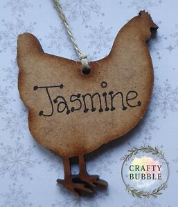 HANDMADE PERSONALISED CHICKEN CHRISTMAS TREE BAUBLE ORNAMENT.WOODEN