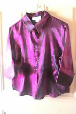 Younique Dressy Evening Blouse Dark Purple Size XG Shimmery Holiday