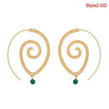 Retro Women Circles Round Spiral Tribal Hoop Earrings Ear Stud Piercing WL Style2 Gold