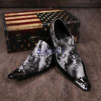 Mens Chic Leather pointy Metal Toe Dress Oxfords Slip On Shoes Wedding Party Hot