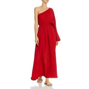 Red Carter Womens Red One Shoulder Maxi Fringe Dress Swim Cover-Up M BHFO 8257