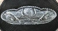Antique Lead Crystal Cut Glass Saw Tooth Oval Relish Dish - Beautiful!