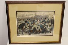 Framed A.B. FROST Vintage Early Football Lithograph Print Arthur Burdett Frost