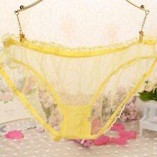 Ladies Plus Size Sheer Underwear Briefs Underpants Transparent Lace Sexy Panties