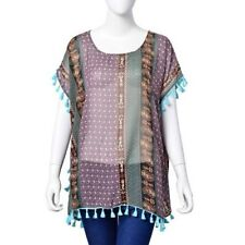 Purple & Green Multi Coloured Poncho Style Top With Tassels Free Size