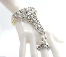 New Women's Pearl Crystal Bracelet Ladies Ring Slave Silver Tone