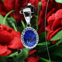 NATURAL 6 X 8 mm. OVAL BLUE SAPPHIRE & WHITE CZ PENDANT 925 STERLING SILVER