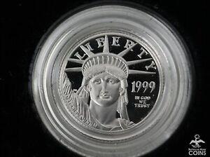 1999 W USA 1/10 oz Platinum .9995 Liberty Eagle $10 Proof Coin w/COA & Box