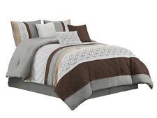 11-Pc Nico Comforter Curtain Set |Hexagon Parallelogram|Gray Taupe Brown|King