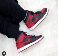 "✅ Nike Air Jordan 1 Mid ""Bred"" 2020 Size UK7 US8 EU41 Black Red AJ1 Banned 🔴"