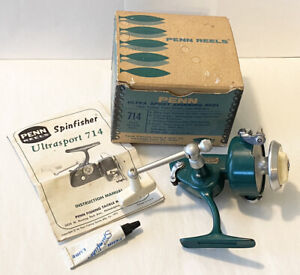 Vintage PENN Ultra Sport 714 Spinning Reel Made in USA with Original Box Papers