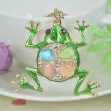Lovely Opal Frog Keyring Rhinestone Crystal Charm Pendant Handbag Keychain Gift