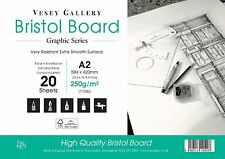 A2  Bristol board Pad 250gm Smooth Card. 20 Sheets 250gsm Made in UK 420x594mm