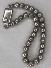 """Vintage Old Pawn Mexican Sterling Silver Bench Bead Desert Pearl Bracelet 7 1/2"""""""