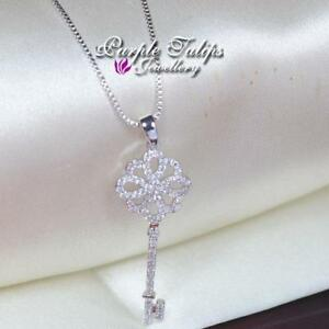 18CT White Gold Plated Gorgeous Key Necklace Made With Swarovski Crystal
