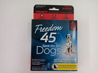 Freedom 45 Spot–On For Dogs Six-Month Supply Large Dog 33-66 Pounds Flea & Tick
