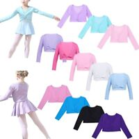 Kids Girls Ballet Dance Wrap Top Front Twist Cotton Shrug Dress Sweater Cardigan