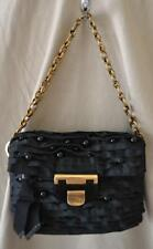 Nina Ricci Small Black Bag w/Beads & Brass Chain Handle
