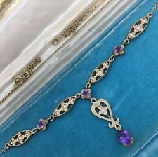 Necklace 9ct Yellow Gold Chain Vintage Pretty Amethyst Pearl Pendant