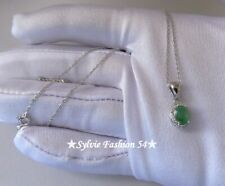 💜 Superbe collier chaine pendentif unique argent 925 Emeraude et brillant zc.