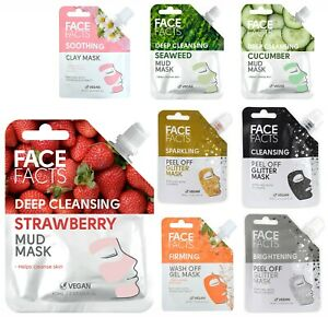 Face Facts Face Masks Mud Clay Gel Mask Wash OR Peel Off -All Skin Types Vegan ✓