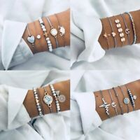 Boho Fashion Women Jewelry Bracelets Chain Cuff Bangle Lady Charm Bracelet Set