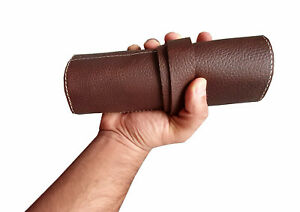 Geniune Leather Natural Dark Brown Watch Roll for Travel & Storage roll gift him