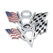 2Pcs Metal Luxury New American Flag V8 Car Body Trunk Lid Sticker Badge Emblems