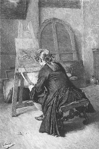 ARTIST PAINTING Canvas NUDE GIRL WOMAN in BARE STUDIO ~ 1877 Art Print Engraving