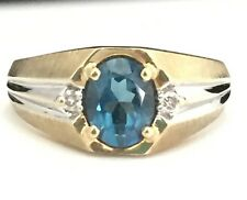 14K Yellow and White Gold London Blue Topaz and Diamond Men's Ring