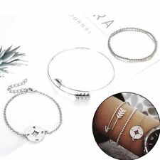 Fashion Women 3Pcs Arrow Compass Silver Beaded Chain Bracelets Set Jewelry Gifts