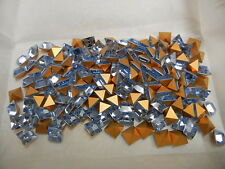 36 preciosa square rhinestones, 8x8mm light sapphire / gold foiled