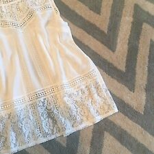 L NWT Women's Flowy Bohemian White Lace Ethereal Gypsy Peasant Tank Top LARGE