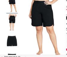 "Lands' End 9"" Quick Dry Elastic Waist  Board Shorts Swim Cover-up Black SZ 22W"