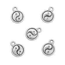 """Antique Silver """"Yin Yang"""" Small Round Pendants 13x10mm Pack of 5 (N77/3)"""