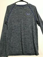 Men's Under Armour Gray/Blue Loose Heat Gear L/S Shirt. Size Small