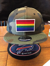 New Era NE400 Camo Flat Brim Snapback Hat/Cap LGBTQ Rainbow Patch Gay Pride