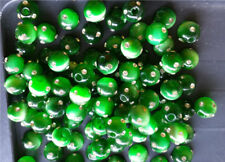 8mm Cats Eye Fiber Optic FIREBALL Beads - KELLY GREEN - 5 BEADS