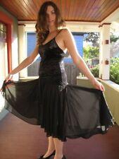 NATORI FLIRTATIOUS illusion lace REVEALING VELVET FULL SKIRT SLIP GOWN DRESS M/L