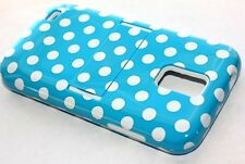 Samsung Galaxy S2 T989 T-Mobile - HARD & SOFT HYBRID ARMOR CASE BLUE POLKA DOTS