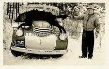 ANTIQUE HUNTING REPRO PHOTO HUGE BLACK MONTANA TIMBER WOLF ON PICKUP TRUCK