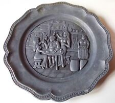 VINTAGE PEWTER PLATE FIGURAL MEDIEVAL TAVERN SCENE MADE IN SPAIN