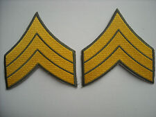 """""""New""""  Gold on Forest Green Police Sergeant Chevron Patches (pr.) 4.75"""" X 4.75"""""""