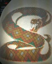 Rare Vintage Iron On Heat Transfer Sparkly Multicolored Hissing Snake Animals