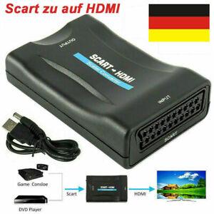 Konverter 1080P Scart zu auf HDMI Adapter Wandler AV Scaler Converter HD TV +USB