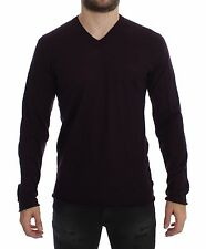 NEW $380 DOLCE & GABBANA Purple Virgin Wool Logo V-neck Sweater Pullover 48 / M