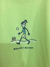 "LIFE IS GOOD Womens ""Wander Woman"" Green 100% Cotton T-Shirt XL Short Sleeve"